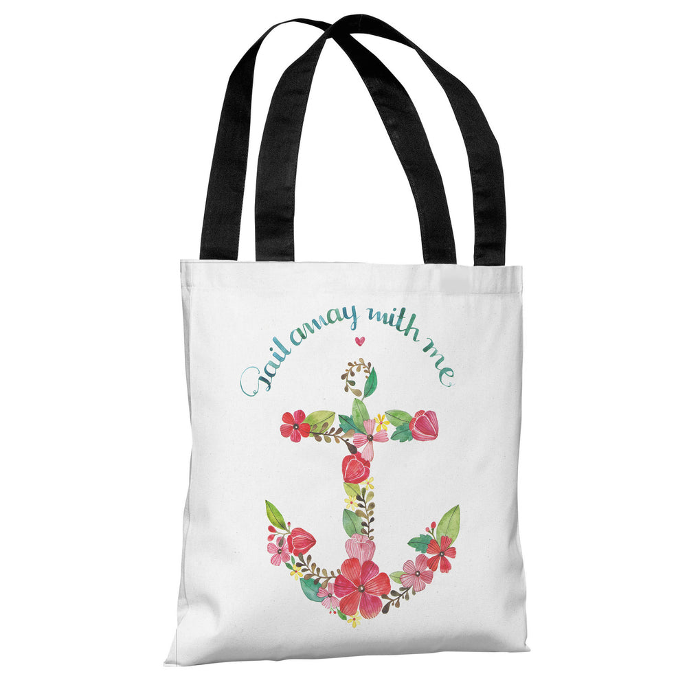 Sail Away Anchor - White Multi Tote Bag by Ana Victoria Calderon