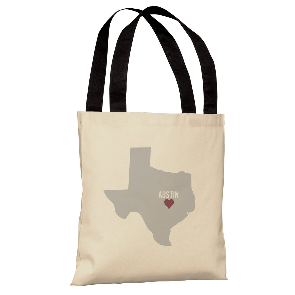 Austin Heart Map - Oatmeal Gray Red Tote Bag by OBC