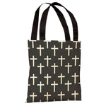 All Over Cross Print  Tote Bag by OBC