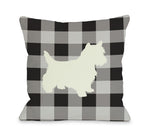 Gingham Silhouette Westie - Charcoal Throw Pillow by OBC
