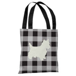 Gingham Silhouette Westie - Charcoal Tote Bag by OBC