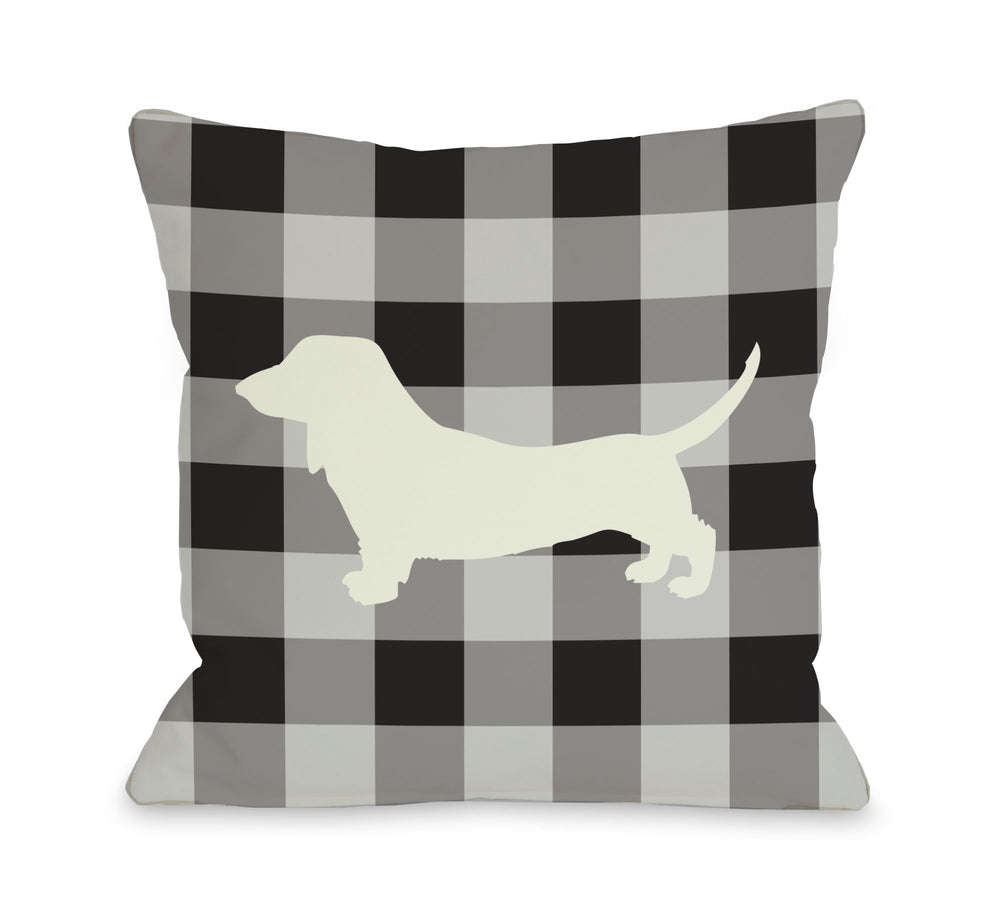 Gingham Silhouette Doxie - Charcoalby OneBellaCasa Affordable Home D_cor