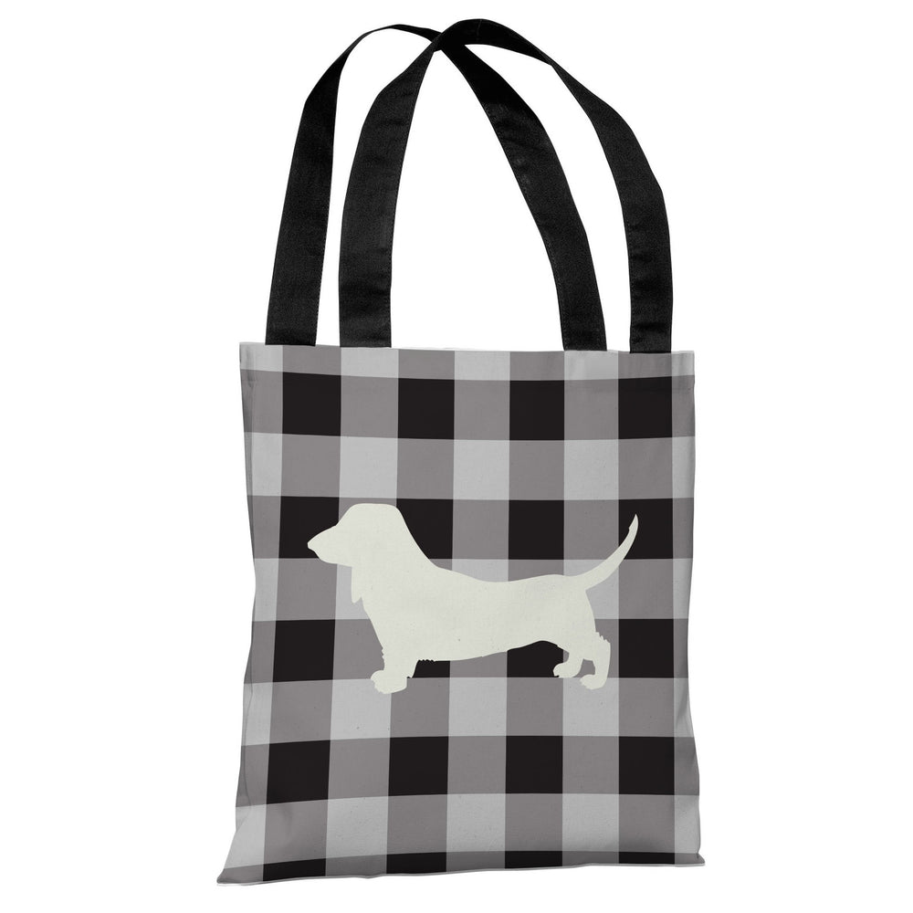 Gingham Silhouette Doxie - Charcoal Tote Bag by OBC