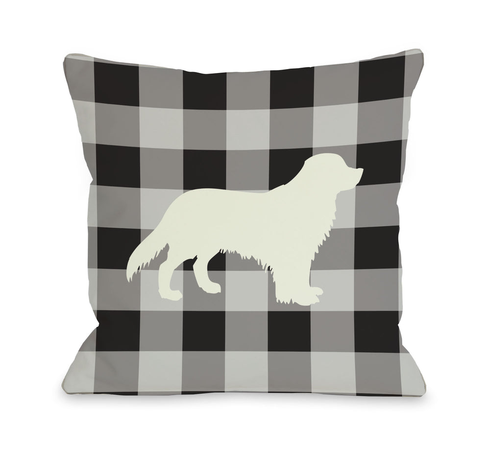 Gingham Silhouette Golden - Charcoal Throw Pillow by OBC
