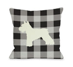 Gingham Silhouette Schnazuer - Charcoal Throw Pillow by OBC