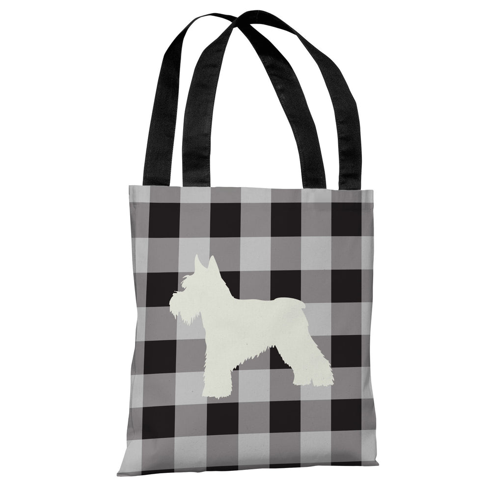 Gingham Silhouette Schnazuer - Charcoal Tote Bag by OBC