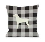 Gingham Silhouette Large Mixed Breed - Charcoalby OneBellaCasa Affordable Home D_cor