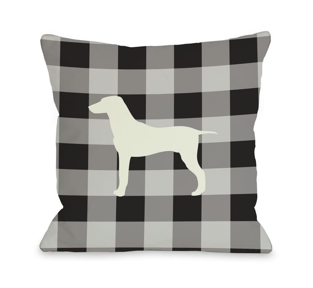 Gingham Silhouette Large Mixed Breed - Charcoal Throw Pillow by OBC
