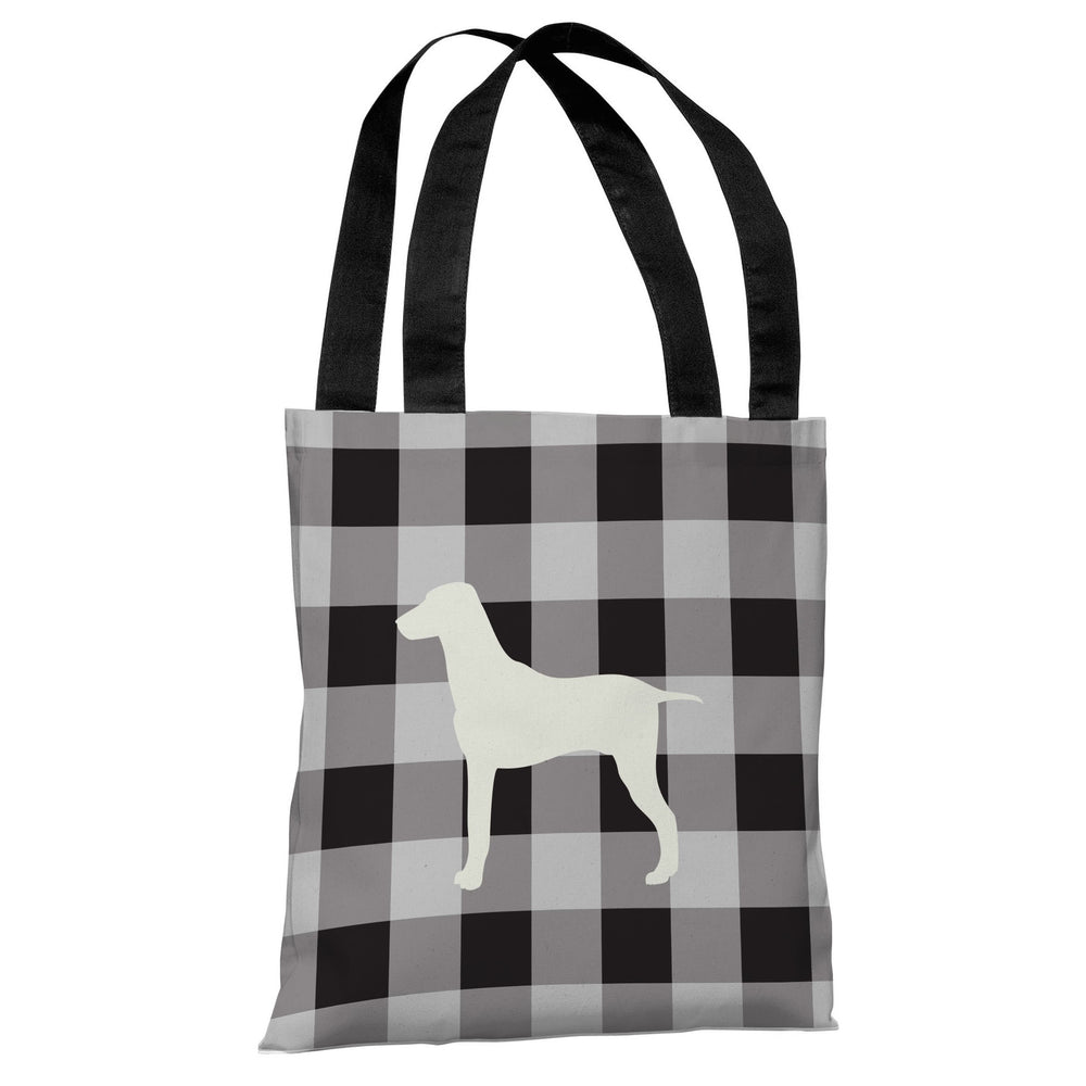 Gingham Silhouette Large Mixed Breed - Charcoal Tote Bag by OBC