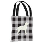 Gingham Silhouette Lab - Charcoal Tote Bag by OBC