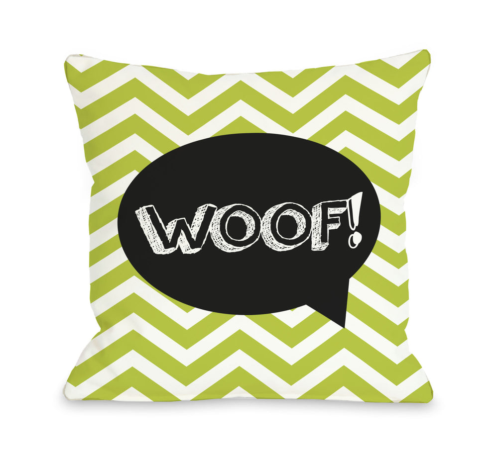 Chevron Woof Talk Bubble - Lime Throw Pillow by OBC