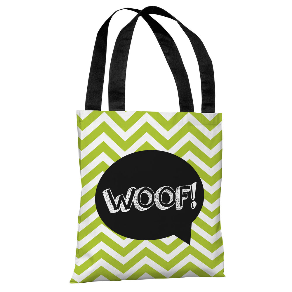 Chevron Woof Talk Bubble - Lime Tote Bag by OBC