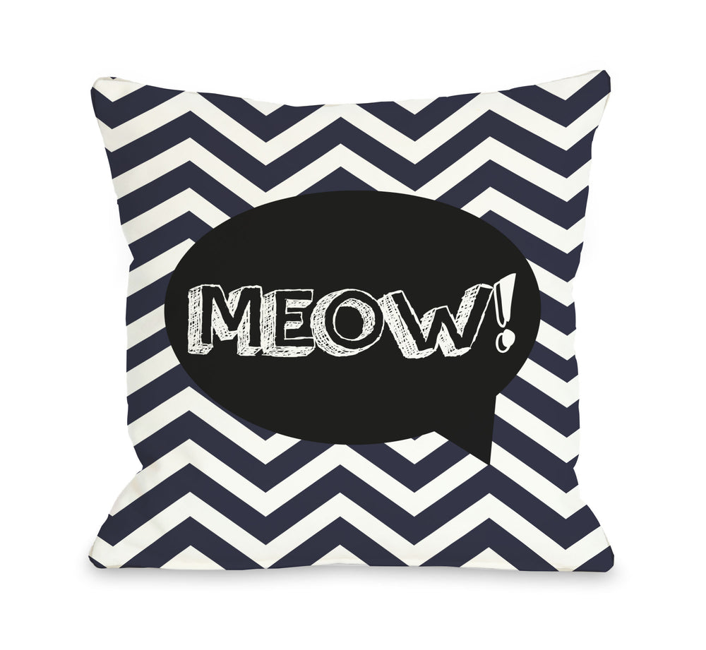 Chevron Meow Talk Bubble - Navyby OneBellaCasa Affordable Home D_cor