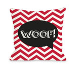 Chevron Woof Talk Bubble - Red Throw Pillow by OBC