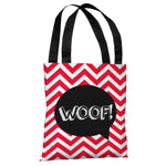 Chevron Woof Talk Bubble - Red Tote Bag by OBC