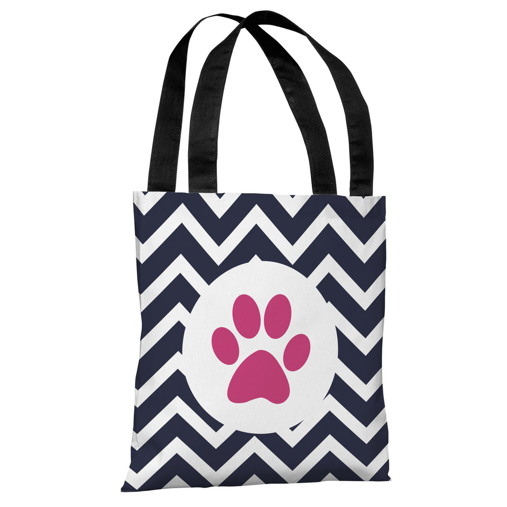 Chevron Circle Paw Print - Navy Pink Tote Bag by OBC
