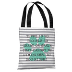No Trouble Dog Kisses Stripe Paw - Gray Turquoise Tote Bag by OBC