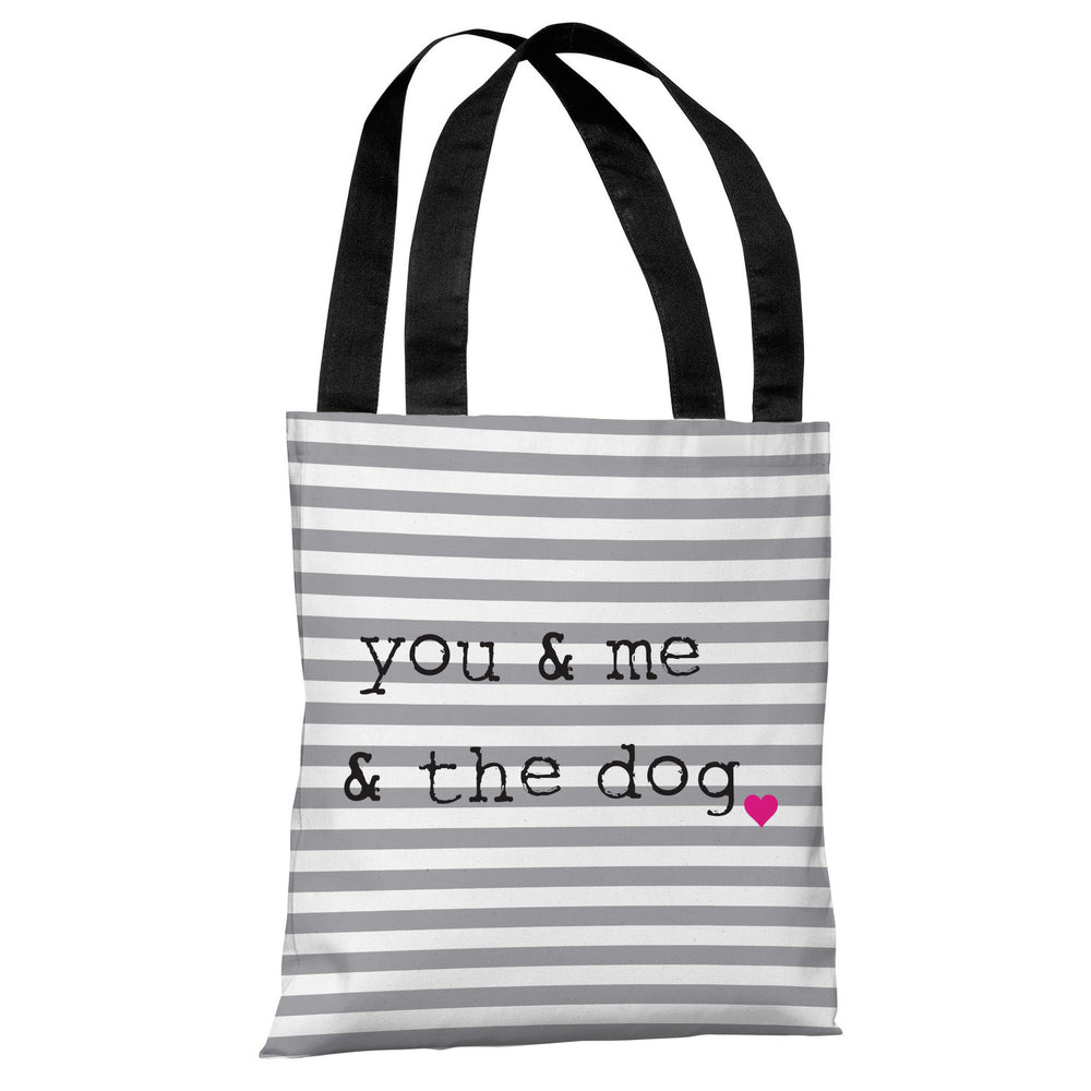 You & Me & The Dog Stripe - Gray White Black Tote Bag by OBC