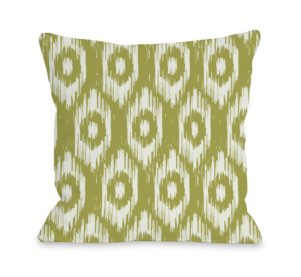 Kelly Ikat - Oasis Green Ivory Outdoor Throw Pillow by OBC