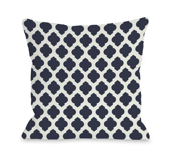 All Over Moroccan - Navy Ivory Outdoor Throw Pillow by OneBellaCasa.com