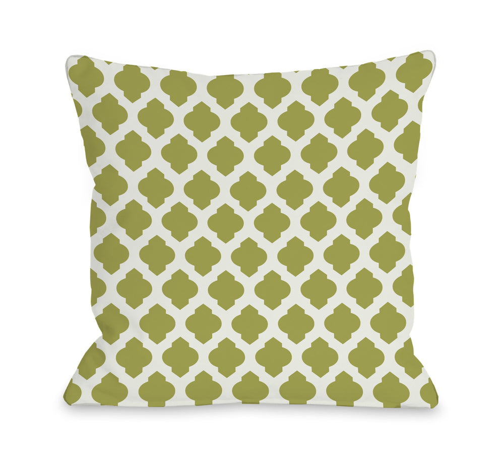 All Over Moroccan - Oasis Green Ivory Outdoor Throw Pillow by OneBellaCasa.com