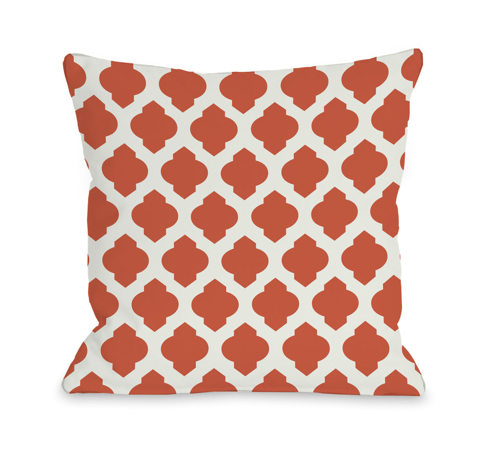 All Over Moroccan Orange Ivory Outdoor Throw Pillow By Obc