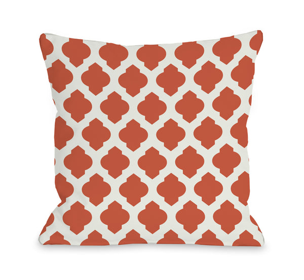 All Over Moroccan - Orange Ivory Outdoor Throw Pillow by OneBellaCasa.com