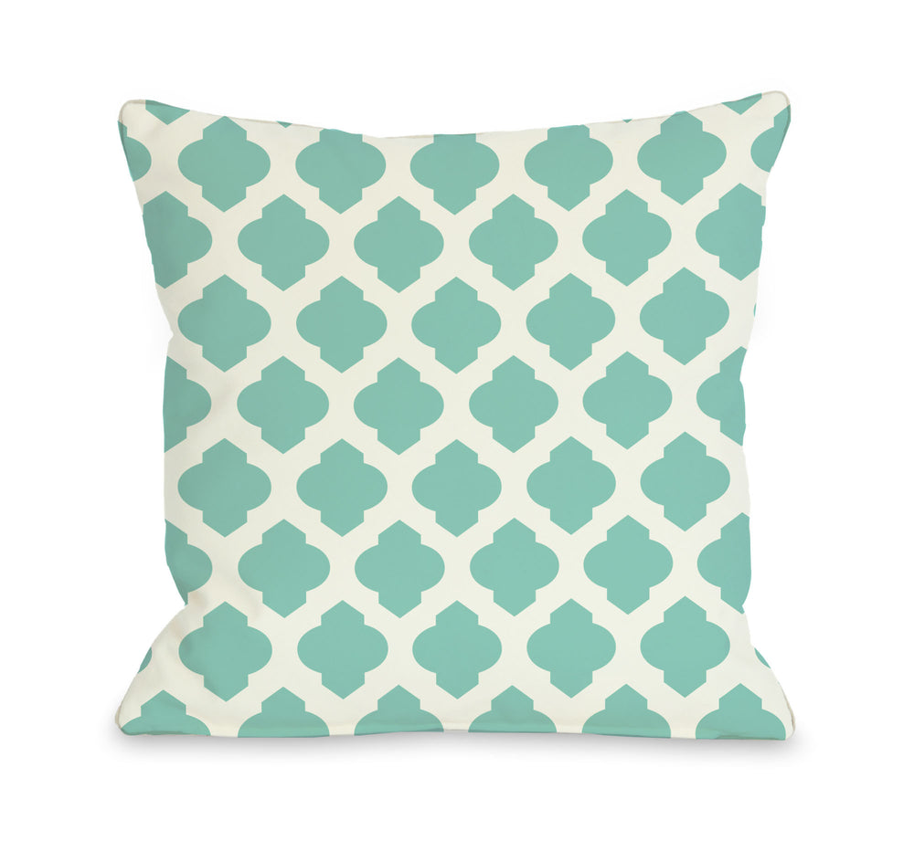 All Over Moroccan - Turquoise Ivory Outdoor Throw Pillow by OBC