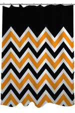 Chevron Solid - Black Orange Shower Curtain by OBC