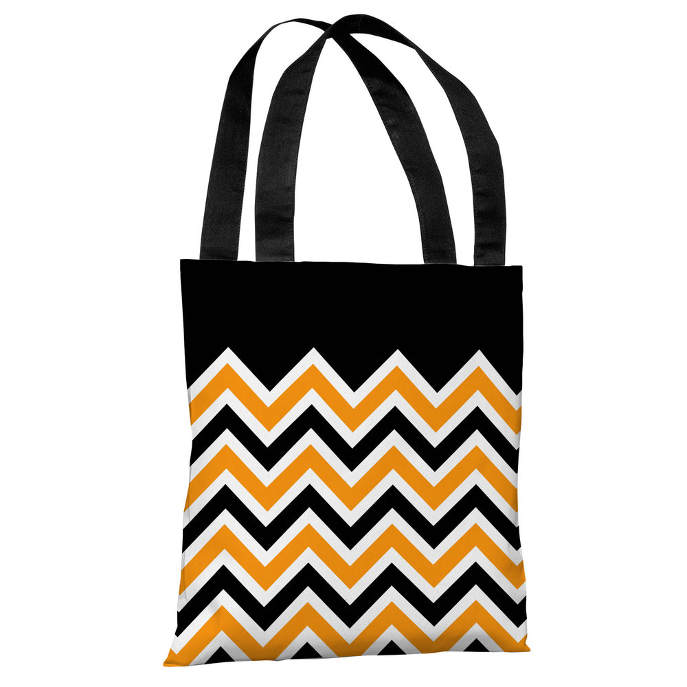 Chevron Solid - Black Orange Tote Bag by OBC