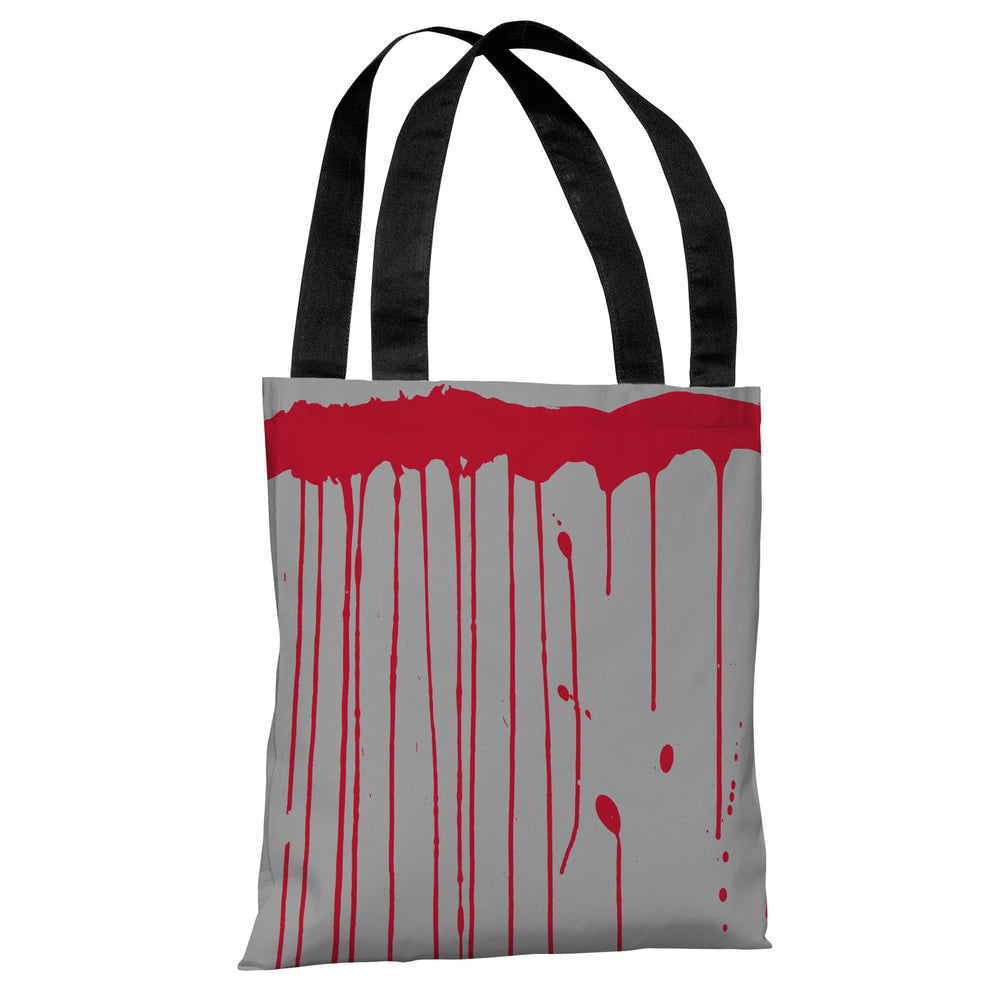 Dripping Blood - Gray Red Tote Bag by OBC