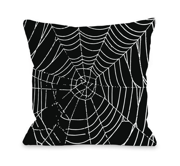 All Over Spider Webs - Black White Throw Pillow by OBC