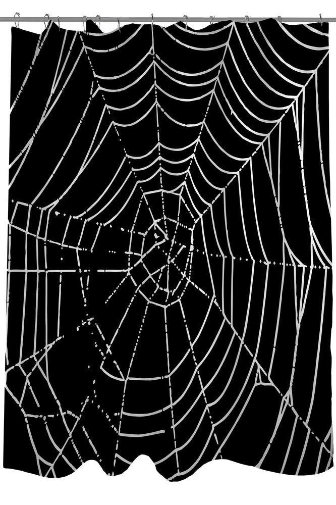 All Over Spider Webs - Black White Shower Curtain by OBC
