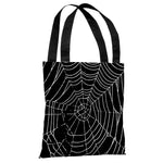 All Over Spider Webs - Black White Tote Bag by OBC