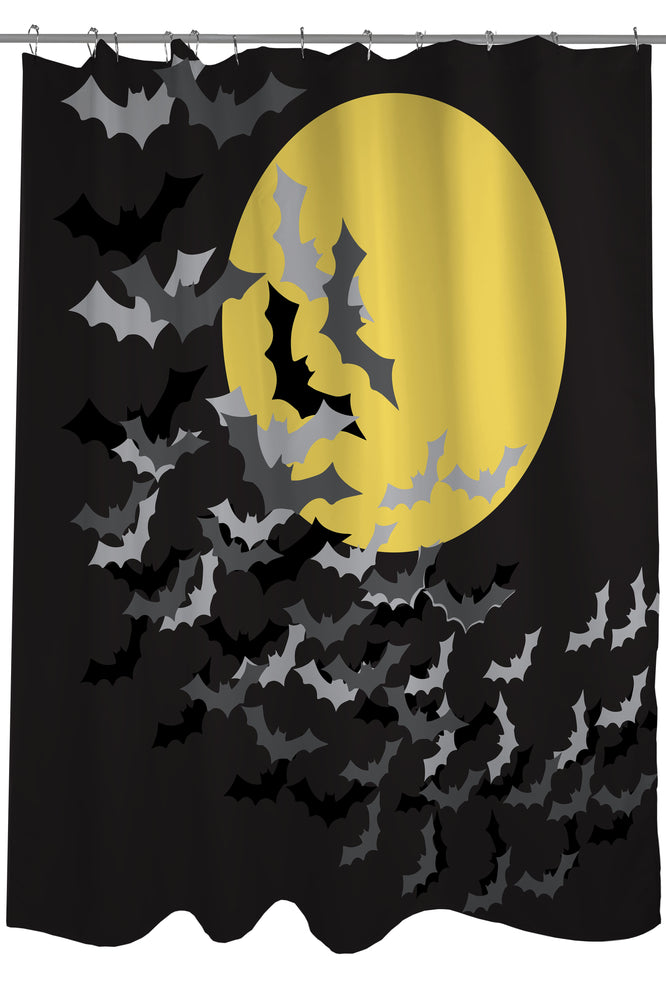 Flock of Bats Moon - Black Yellow Shower Curtain by OBC