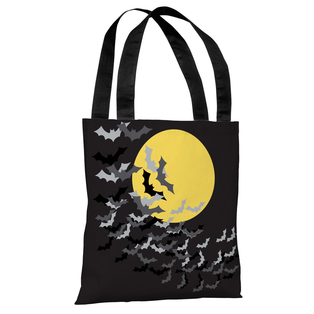 Flock of Bats Moon - Black Yellow Tote Bag by OBC