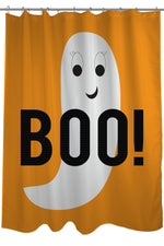 Smiley Ghost Boo Dot - Orange White Shower Curtain by OBC