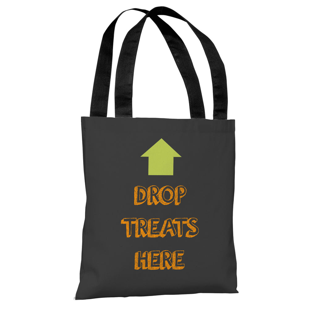 Drop Treats Here - Gray Orange Tote Bag by OBC