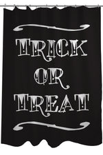 Trick or Treat Tattoo Letters - Black White Shower Curtain by OBC