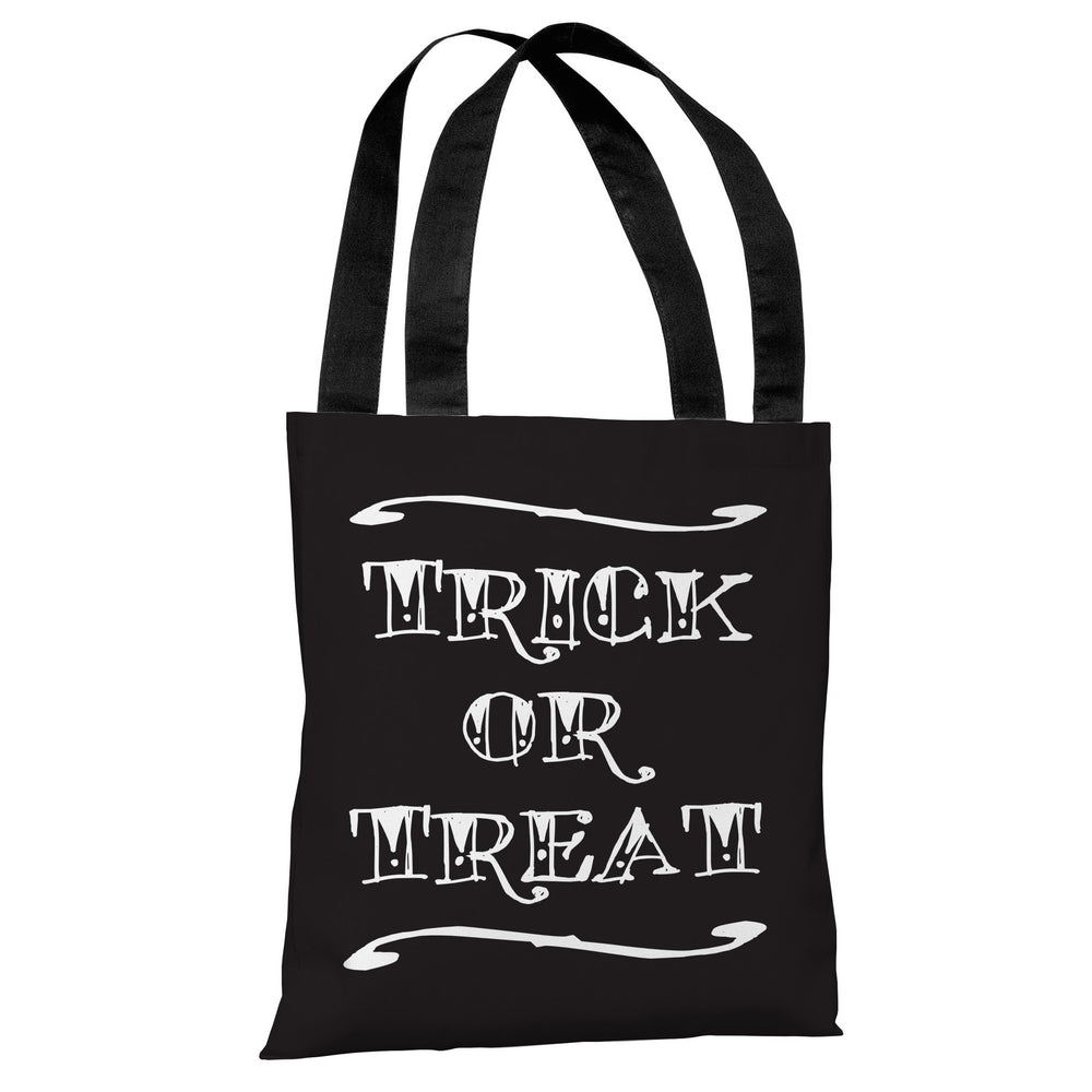 Trick or Treat Tattoo Letters - Black White Tote Bag by OBC