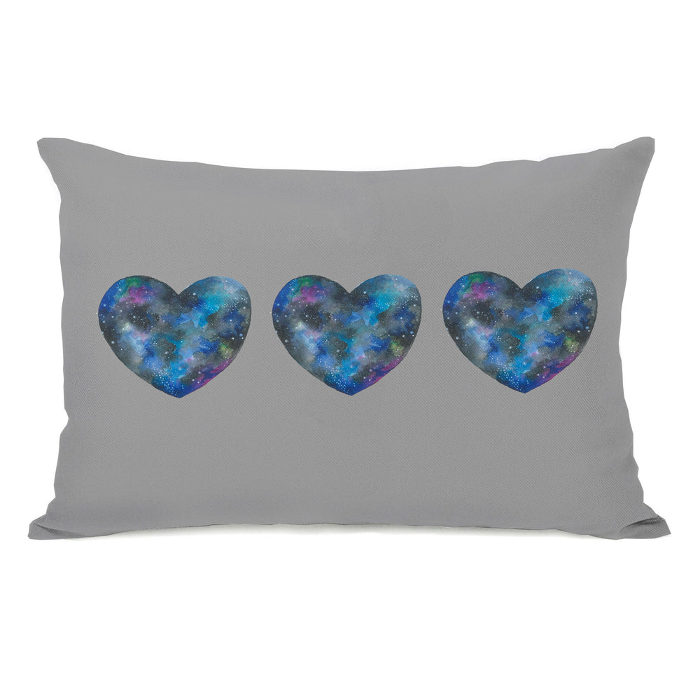 Triple Cosmic Heart - Gray Multi Throw Pillow by Ana Victoria Calderon