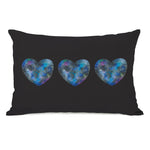 Triple Cosmic Heart - Black Multi Throw Pillow by Ana Victoria Calderon