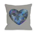 Single Cosmic Heart - Gray Multi Throw Pillow by Ana Victoria Calderon