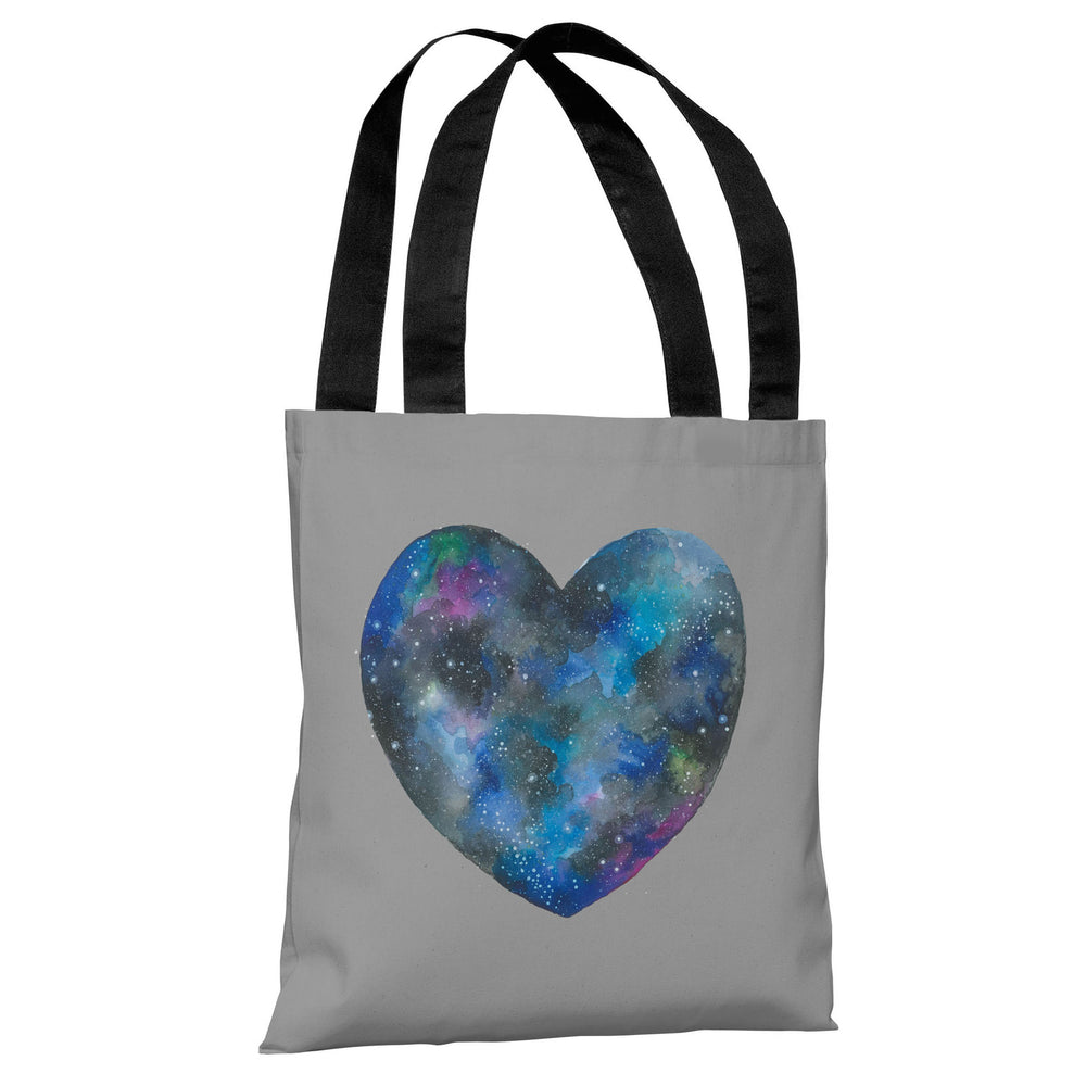 Single Cosmic Heart - Gray Multi Tote Bag by Ana Victoria Calderon