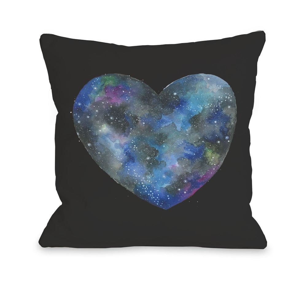 Single Cosmic Heart - Black Multi Throw Pillow by Ana Victoria Calderon