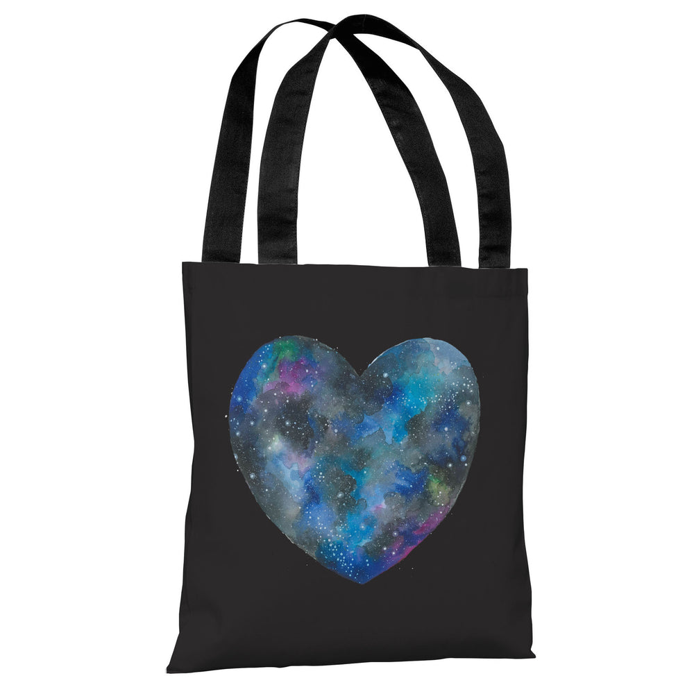 Single Cosmic Heart - Black Multi Tote Bag by Ana Victoria Calderon