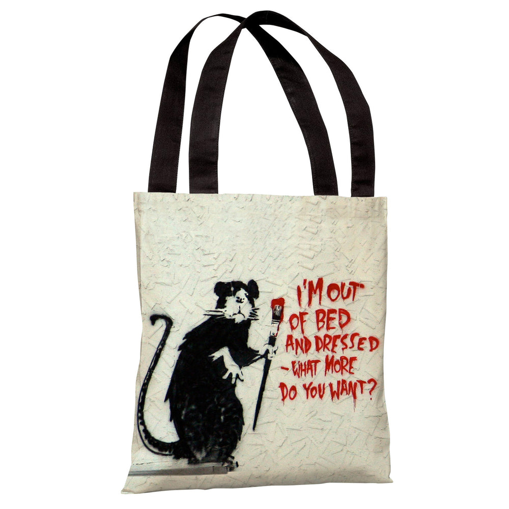 Rat Out of Bed Tote Bag by Banksy