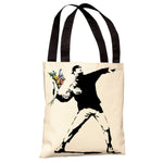 Rage Flowers Tote Bag by Banksy