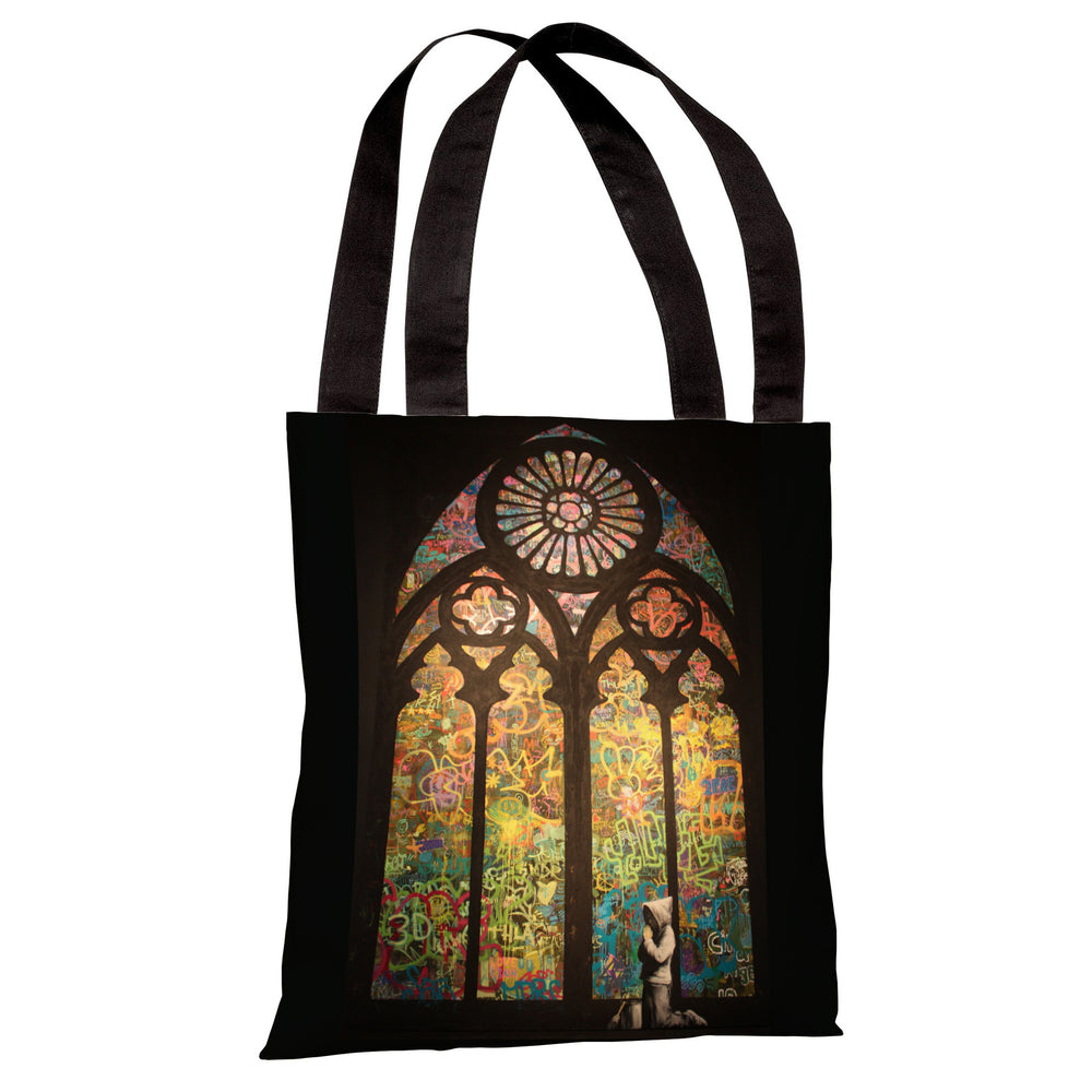 Stained Glass Graffiti Tote Bag by Banksy