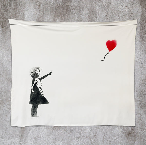 Girl Chasing Heart 50x60 Wall Tapestry by Banksy